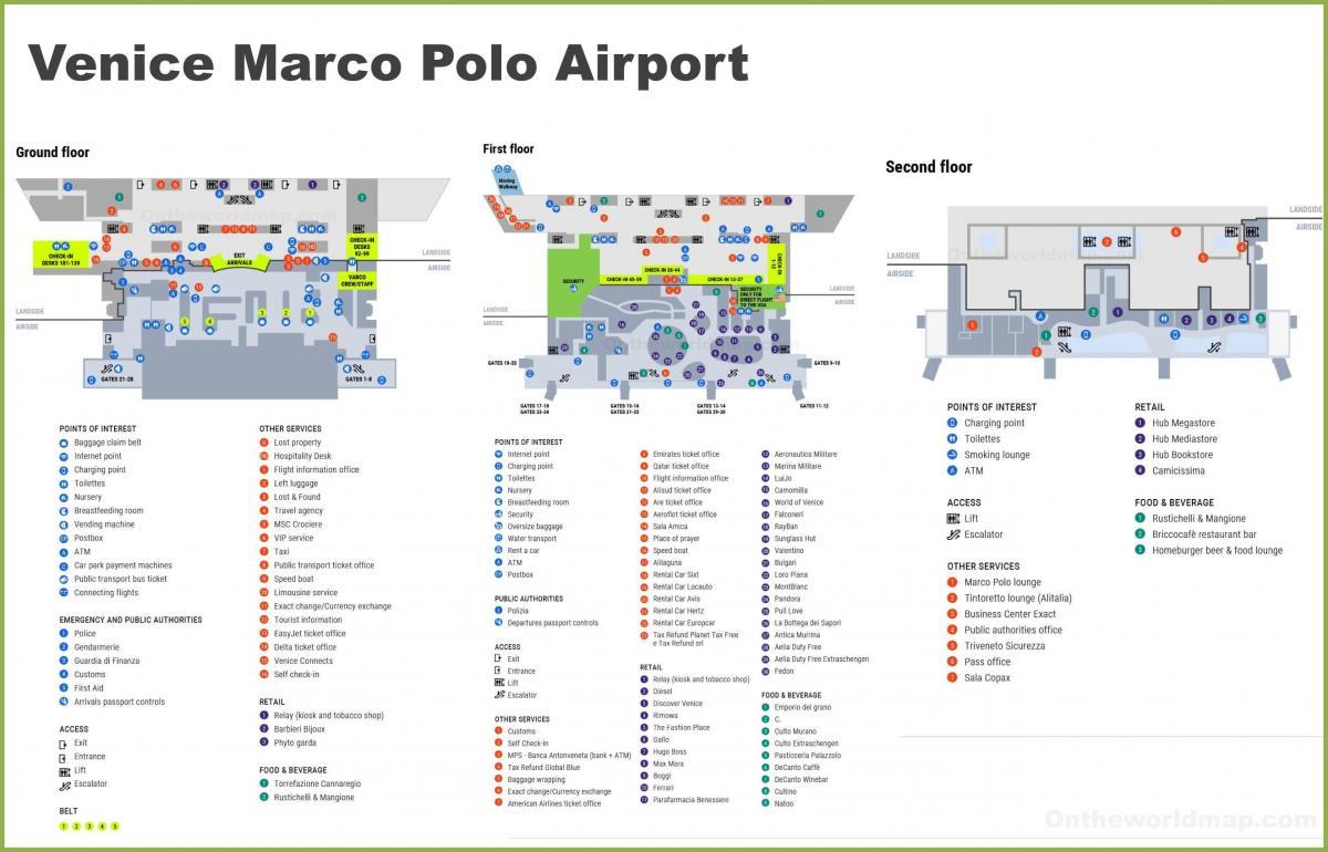 Venice Airport Map Venice airport terminal map   Map of Venice airport terminal (Italy)